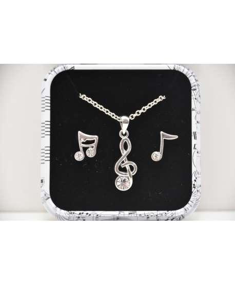 Set colgante clave de sol + pendientes figuras musicales