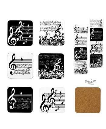 """Set de 6 posavasos """"Música"""" (blanco y negro)"""