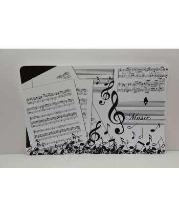 """Mantel individual """"Música"""" (Blanco y negro)"""