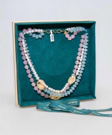 Collar cuarzo rosa, azul y perlas