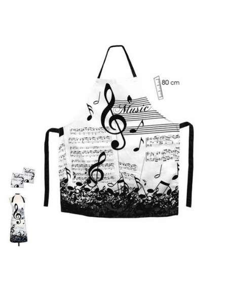 Delantal de música (blanco y negro)