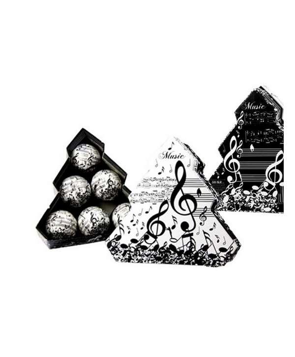 Set de 6 bolsas de navidad de música (blanco y negro)