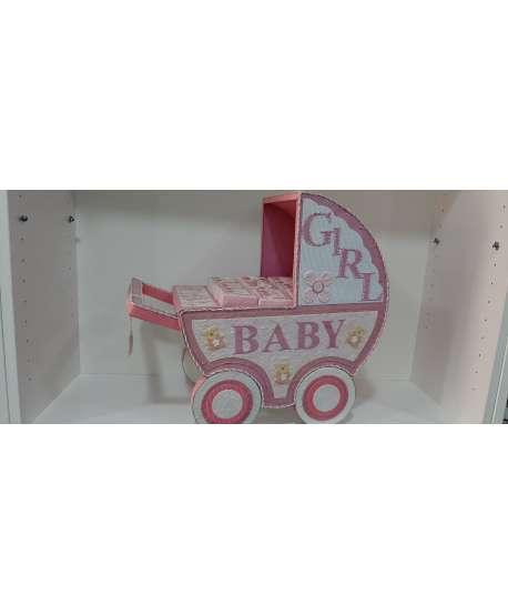 Carrito bebé rosa con 24 cajitas para evento bebé