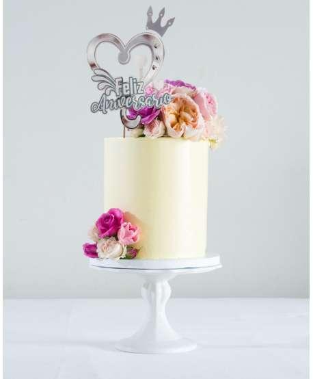 Decoración  Feliz Aniversario para tarta o arreglo de flores