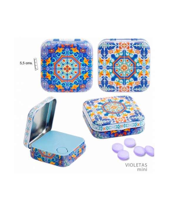 Lata de pastillas de violetas mini Azulejo