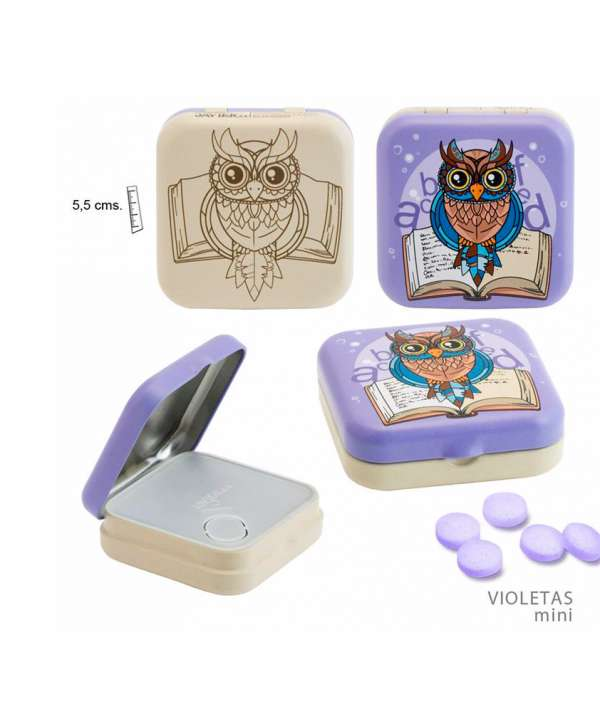 Lata de pastillas de violetas mini (buhos)