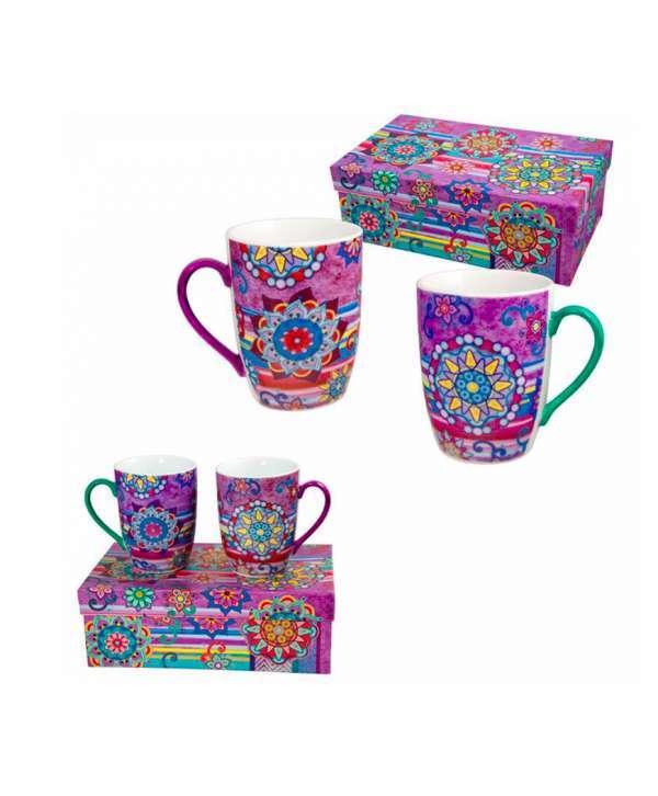 Set 2 mugs con caja de regalo mandalas