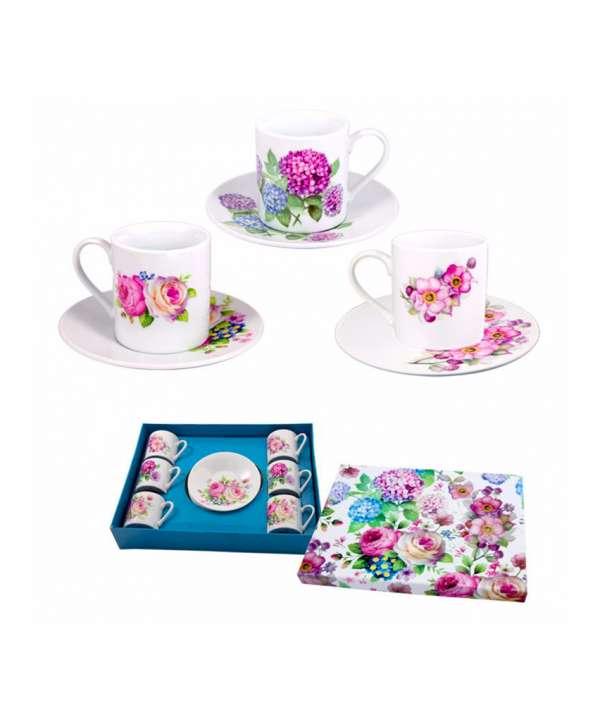 Set 6 tazas pequeñas flor con blanco