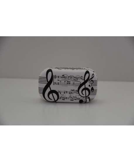 Estuche de lentillas de música (blanco y negro)