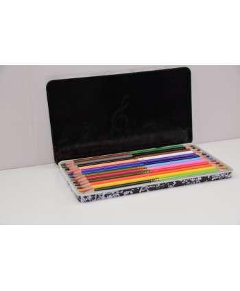Estuche de lápices de colores música (blanco y negro)