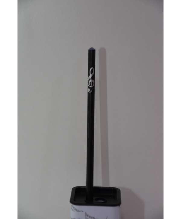 Lapiz negro con piedra y clave de sol (Swarovski)