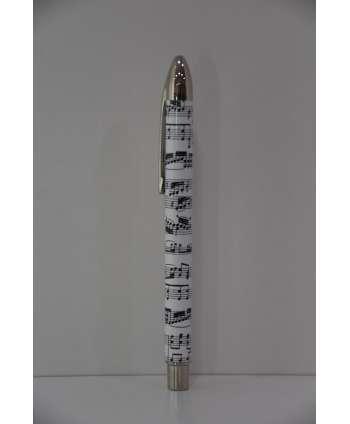 Bolígrafo Roller música blanco y negro