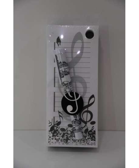 Block de notas con bolígrafo de música (blanco y negro)