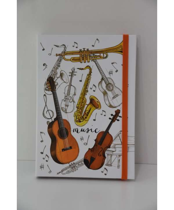 Agenda con post-it de música con instrumentos