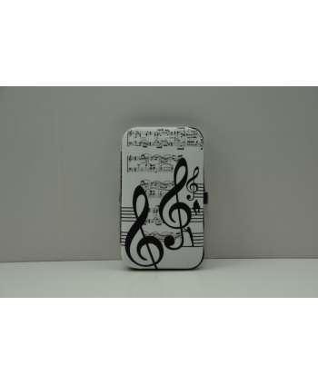 Set de manicura de música blanco y negro