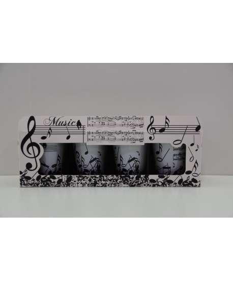 Set de 4 vasos de chupito de música blanco y negro