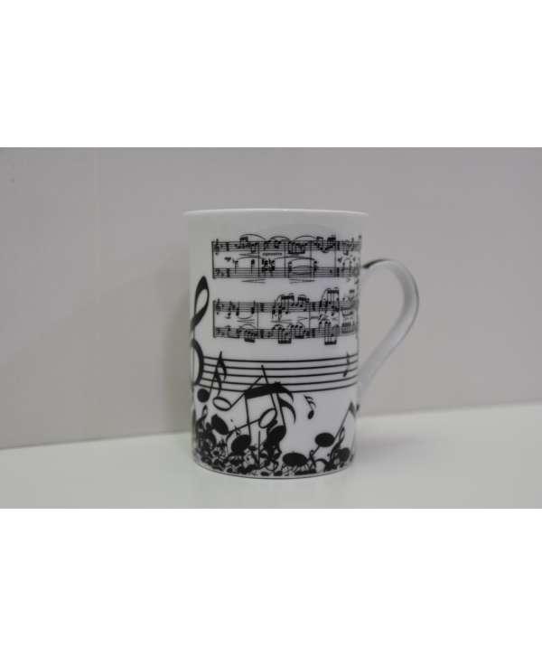 Set de 2 tazas de música blanco y negro