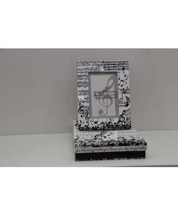 Portafoto de música blanco y negro (cerámica)