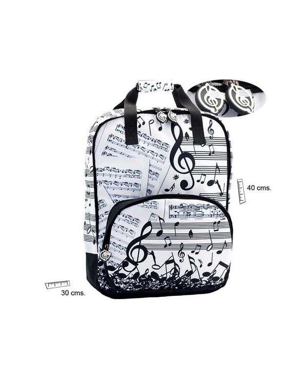 Mochila de música en blanco y negro