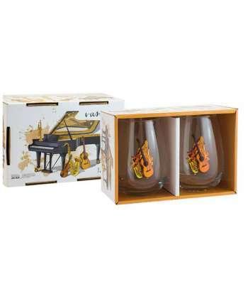 Set de 2 vasos de cristal de música con instrumentos